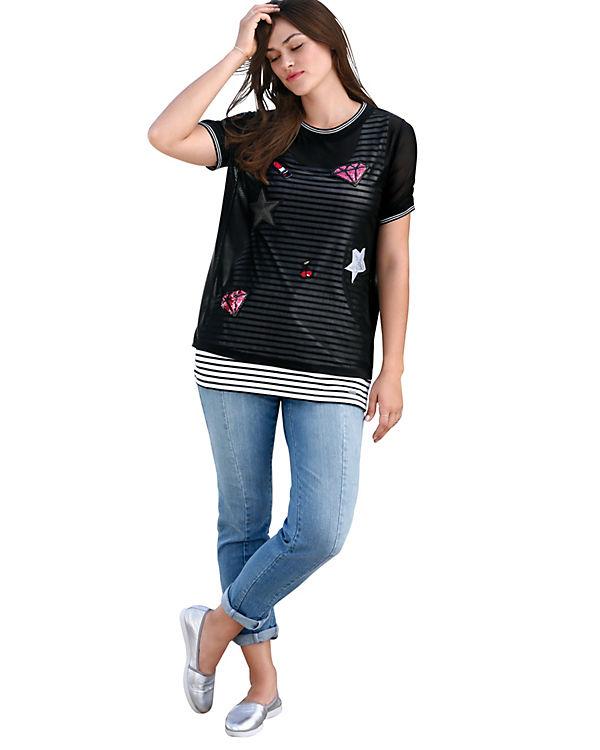 Shirts Patches mit Shirt T Rundhals schwarz LAY EMILIA xwBpWqRn