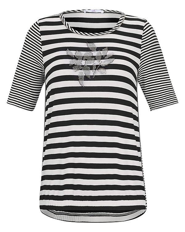 Rundhals schwarz Shirts Shirt T AURA ANNA mit Gummizug 56Cxg05Ywq