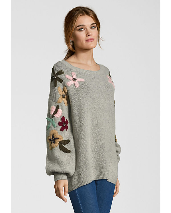 Miss Goodlife grau FLOWERS Strickpullover ARMS Sweatshirts 8BWvf8r
